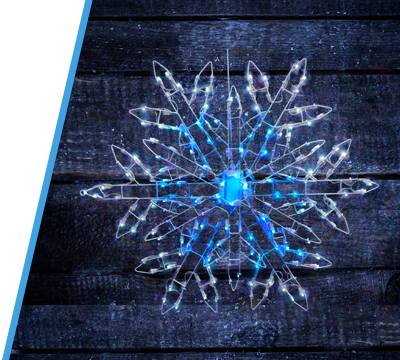 Color Changing Snowflake That Runs Thru 8 Pre Programmed Blue And Pure White Functions 3 Dimensional Frame With Hanging Ring Attached